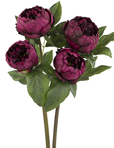 (Rinlong 2pcs Burgundy Artificial Peonies 22