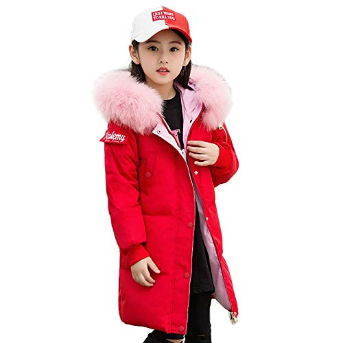 rouge 160cm RSTJ-Sjc Les Filles vers Le Bas Veste Style décontracté à Capuche avec col de Fourrure Moyenne Longue Longueur Enfants Outwear, Manteau d'hiver idéal pour Enfants