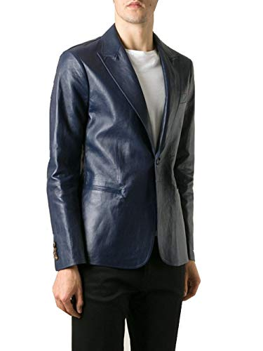 Leather Hubb Mens Black Leather Blazer with One Button (Blue, XL)