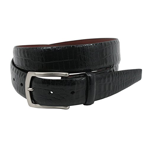Calfskin Embossed Belt (Torino Leather Embossed Alligator Calfskin Belt, Black - Size 42)