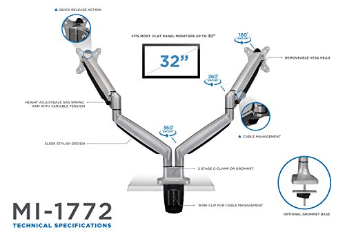 Mount-It! Dual Monitor Desk Mount Arm, Height Adjustable Full Motion Monitor Stand With Gas Spring Arms, Fits 24, 27, 29, 30, 32 Inch Computer Screens by Mount-It! (Image #5)
