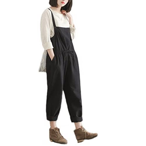35364538de3 YAELUCKY Women Cotton Linen Overalls Loose Pattern Sleeveless Jumpsuit With  Pockets (XXL) free shipping