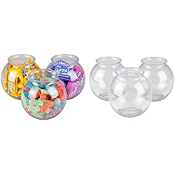 Pack of 6 Small Clear Ivy Bowls Holds 16 Ounces, Heavy Duty Plastic, Fish & Candy Bowl, Carnival Party Favors Decoration, By 4E's Novelty