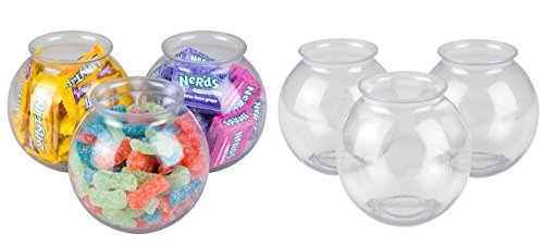 - Pack of 6 Small Clear Ivy Bowls Holds 16 Ounces, Heavy Duty Plastic, Fish & Candy Bowl, Carnival Party Favors Decoration, By 4E's Novelty