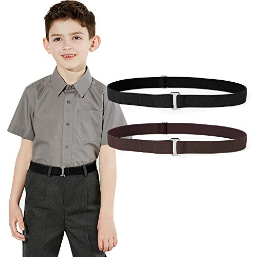 Kids Toddler Belt Elastic Stretch Adjustable Belt For Boys and Girls with Silver Square Buckle 2 Pack By JASGOOD (K-Black+Coffee, Suit for pants size below 26'')
