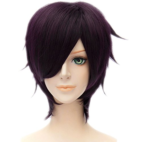 MSHUI Gintama Shinsuke Takasugi Anime Costume Cosplay Wig Short Deep Purple Hair