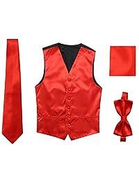 JAIFEI Satin Men Wedding Vest – Set with Neck Tie, Bow Tie & Handkerchief
