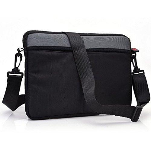 Kroo uneversal Messenger/Sleeve Tasche mit Zubehör Tasche und Schulterriemen passt für Asus Chromebook C300 schwarz schwarz grau qVseuq