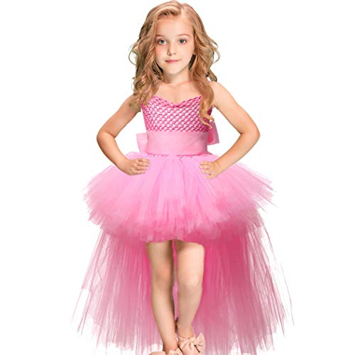 Girls Tutu Dress with Train Handmade V-Neck Tulle Evening Wedding Birthday Party Dresses for Kids Ball Gown (Pink,Small(1-2years)) ()