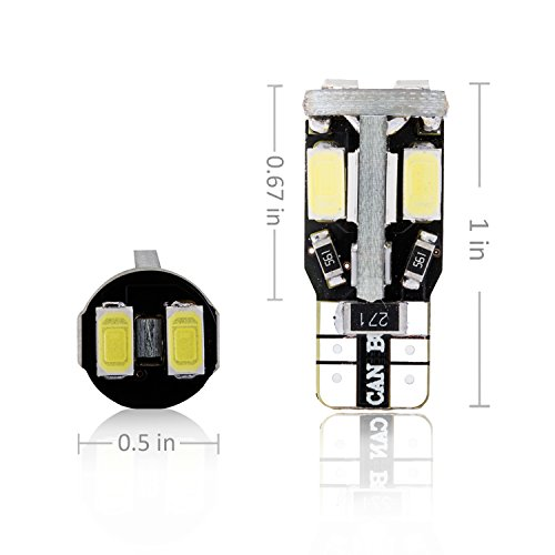 Trisense-194-168-2825-T10-W5W-Error-Free-LED-Bulb-White-Super-Bright-300-Lumens-10-SMD-5730-Chipset-LED-Bulbs-for-Interior-Dome-Map-Door-Courtesy-License-Plate-Lights-Pack-of-10