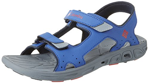 Blue Columbia Sandals - Columbia Unisex Youth TECHSUN Vent Sport Sandal, Stormy Blue, Mountain red, 6 Regular US Big Kid
