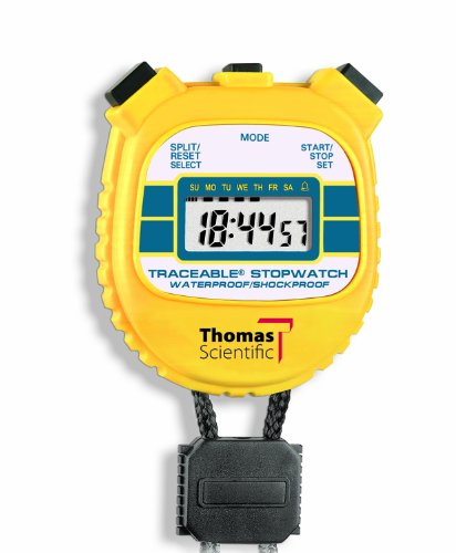 "Thomas 1042 Traceable ABS Plastic Shockproof and Waterproof Stopwatch with LCD Display, 0.01 percent Accuracy, 2 3/8"" Length x 2 1/8"" Width x 1/2"" Thick"