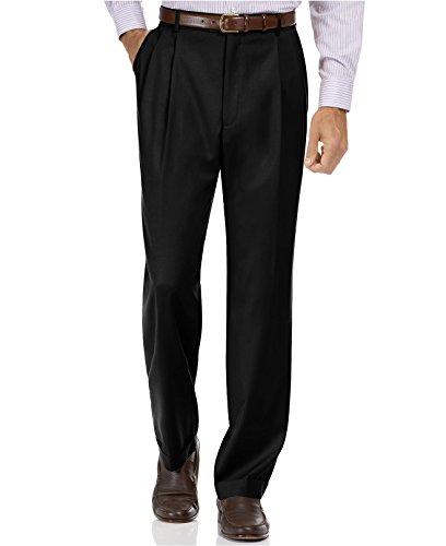 Tasso Elba Black Solid Pleated & Cuffed New Men's Dress Pants