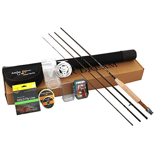ANGLER DREAM AnglerDream Caster 5WT Fly Fishing Combo 30T Carbon Fiber Fly Rod 3/4 5/6 7/8WT CNC Machined Fly Fishing Reel with Line Kit Starter Fishing Rod Combo