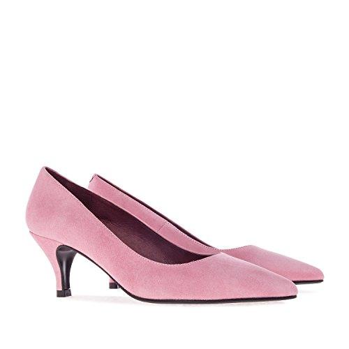 Andres Machado.Amanda.Zapato Tacón Medio de Piel de Mujer.Tallas Pequeñas y Grandes de la 32-35/42-45. Fabricación Español. Rosa