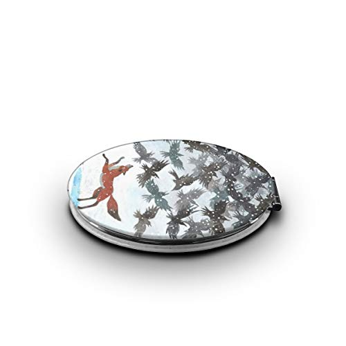 TRENDCAT Double Sided Fox Chase Eagle Makeup Mirror - Compact Folding Vanity Magnifying and Travel Mirror