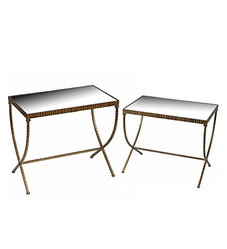 Privilege 18335 Iron and Glass Accent Stands, 2 Piece, Gold
