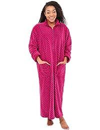 Del Rossa Women's Fleece Robe, Soft Zip-Front Bathrobe