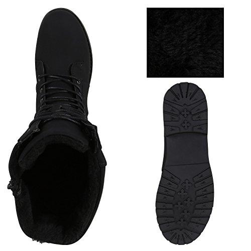 Stiefelparadies Damen Schnürstiefel Warm Gefütterte Stiefel Winter Schuhe Profil Flandell Schwarz