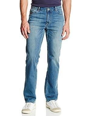 Calvin Klein Jeans Men's Straight Leg Smooth Cotton Jean (38X32, Silver Bullet)