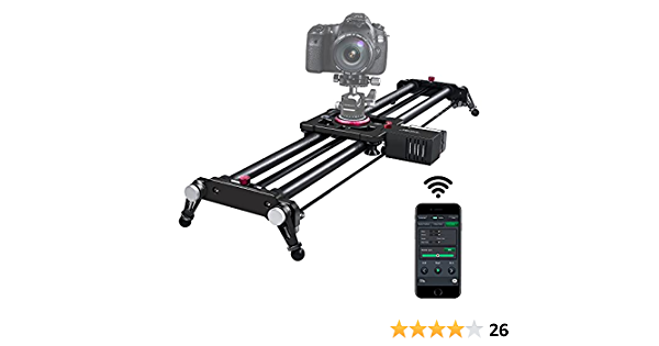 """Camera Slider, ASHANKS Bluetooth APP Motorized Electric Tracking Track Dolly Slider Carbon Fiber Rail for DSLR Camera Time Lapse and Follow Focus Video Shot,120 Degree Panoramic Shot, 31"""" ..."""