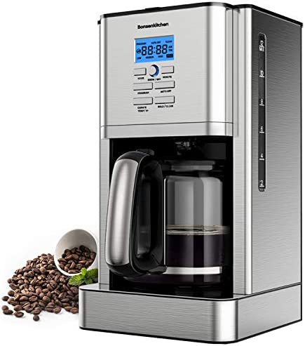 12 Cups 60Oz Programmable Stainless Steel Coffee Makers Machines w Timer Built