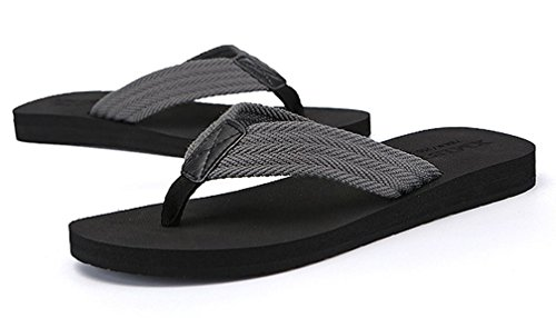 Cattior Mens Indoor Outdoor Pantofole Infradito Sandali Da Spiaggia Grigi