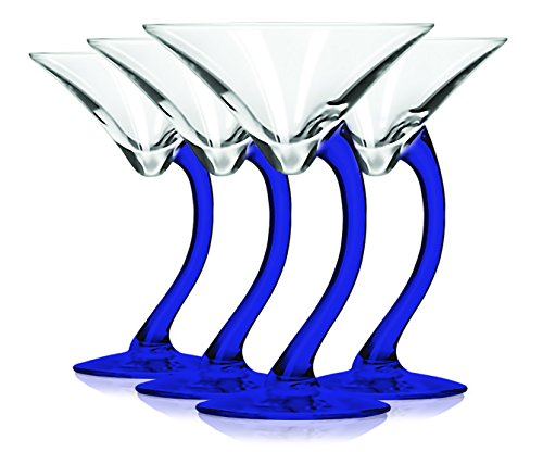 Libbey Cobalt Blue Curved Stem Martini Glasses with Colored Accent - 6.75 oz. Set of 4- Additional Vibrant Colors Available by TableTop King