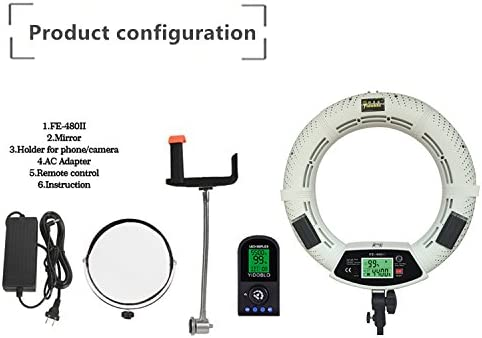 Adapter White Yidoblo FE-480 LCD Screen 18 96W 480 SMD LED Ring Light Bi-Color 3200K-5500K Camera Photo Studio Video Portrait Photography with Wireless Remote Mirror Phone//Camera Holder
