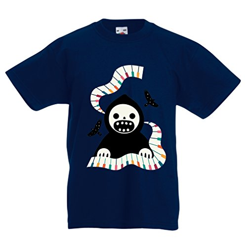 T Shirts for Kids Halloween Horror Nights - The Death is Playing on Piano - Cool Scarry Design (9-11 Years Dark Blue Multi Color)