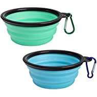 SLSON Collapsible Dog Bowl 2 Pack, Portable Silicone Pet Feeder, Foldable Expandable for Dog/Cat Food Water Feeding, Travel Bowl for Camping, Light Blue and Green