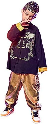 ダンス 衣装 キッズ ヒップホップ セットアップ ダンス衣装キッズ 子供 HIPHOP 中華風 シャツ 男の子 パンツ 男の子 練習着 かっこいい ジャズダンス JAZZ パーカー ダンスウェア 子ど ランニング ジュニア (トップス+パンツ, 160)