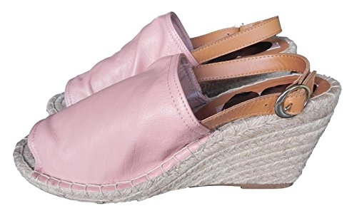 Marks & Spencer Major Highstreet Store Collection High Vamp Pink Leather Top Wedge Sandals Size 3 ILygmQ