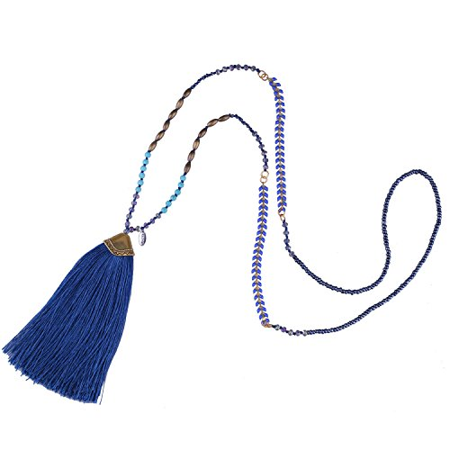 (KELITCH Turquoise Crystal Beaded Necklace Tassel Layering Style Pendant Necklace Fashion women new Jewelry (Dark Blue))