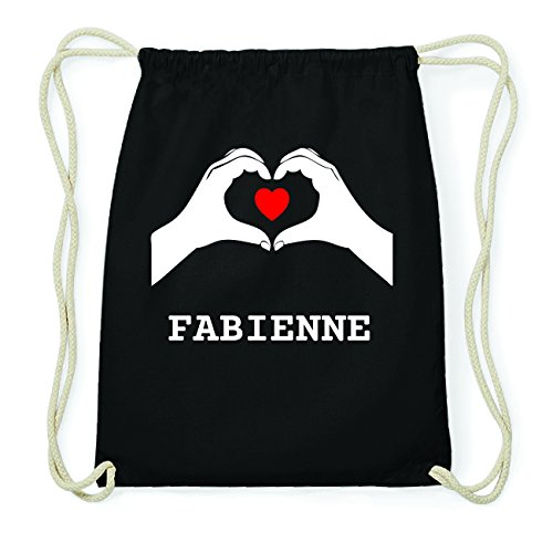 JOllify FABIENNE Hipster Turnbeutel Tasche Rucksack aus Baumwolle - Farbe: schwarz Design: Hände Herz