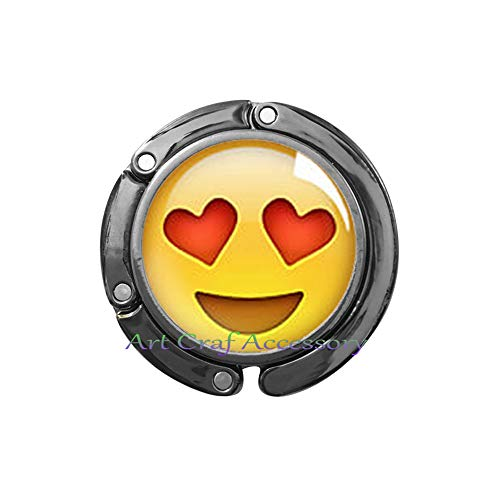 - Heart Eyes Emoji Bag Hook,Emoji Emoticon Purse Hook Jewelry Silver Plated Bag Hook, Modern Purse Hook,Fun Jewelry,RN255 (G3)