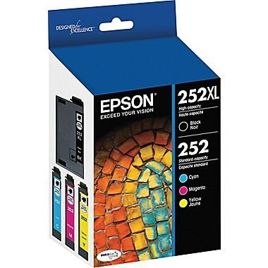 Epson 252XL/252 High-Yield Black And Standard-Yield Cyan/Magenta/Yellow Ink Cartridges, Pack Of 4 (Model T252XL-BCS) (Best Price For Epson Ink Cartridges)