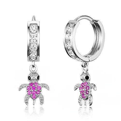 925 Sterling Silver Rhodium Plated Channel CZ Turtle Baby Girl Hoop Huggie Earrings