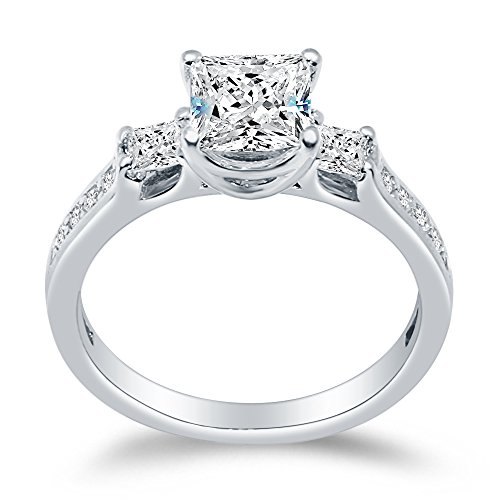 Sterling Silver Princess 3 Stone Ring Engagement Square Solitaire w Sidestone Accents CZ 1.50cttw, 1.0ct Center