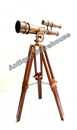 Handmade Antique Brass Pirate Spyglass Double Barrel Telescope With Wooden Stand