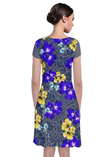 Floreale Occasionale Anteriore Womens Lavoro Floreale Manica Grigio Paisley Cowcow Ufficio Wrap Fiore Corto Giallo Dress ztYrwt