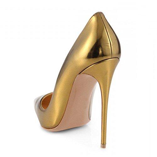 Oro 5 Toe Dimensioni Donne Punte 5 12 Scarpe Vestito Partito Sexy Alto Opaco Stiletto Tacco Pompe Con Ci Lutalica xqw6rvTq74