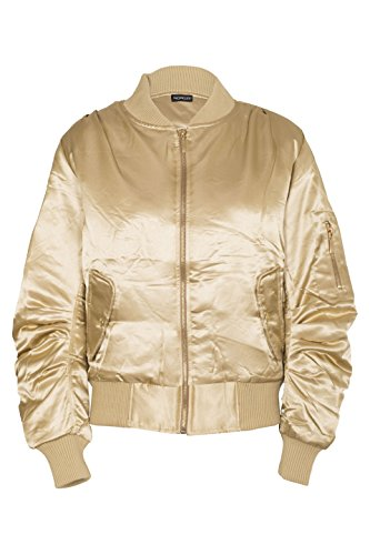 Flight Retro (Noroze Womens Ladies Satin Plain 332 MA1 Retro Bomber Jacket Gold XS (2))