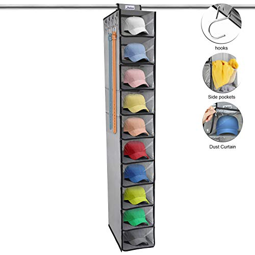 DOIOWN Hat Rack 10 Shelf Hanging Hat Organizer Baseball Cap Organizer with Dust Curtain for Closet Hat Storage (1)