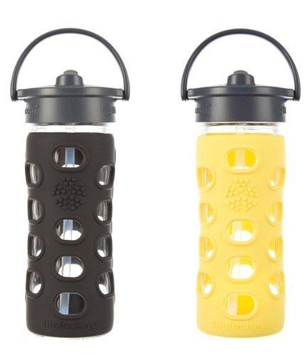 Lifefactory Glass Bottle with Straw Cap Bundle - 2 Items: 12 Ounce Bottles Black & Lemon