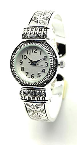 Ladies Elegant Western Look Modern Metal Bangle Cuff Fashion Watch QRTZ (Silver)