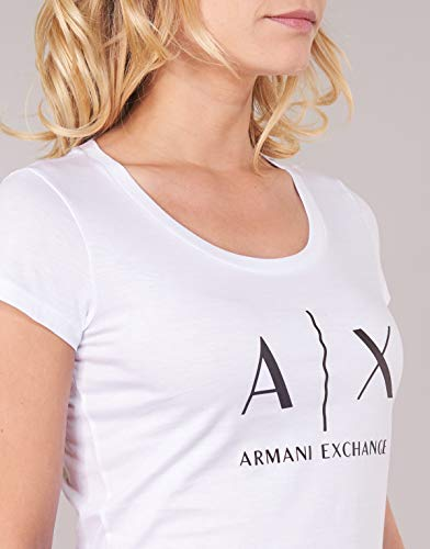 Mujer Logo Armani 1000 optic Ss White Para Exchange Camiseta Blanco HFWXaRq
