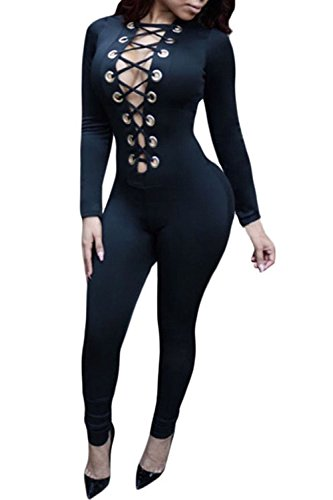 [Aro Lora Women's Deep V Neck Long Sleeves Lace up Key Hole Front Club Jumpsuits XX-Large Black] (Sexy Jumpsuits For Women)