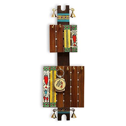 ExclusiveLane Madhubani Hand-Painted Key Holder (6 Hooks) - Key Rack Key Organizer Hooks Key Hangers for Wall Key Hook Key Holder for Wall Wall Hanger Wall Décor Wall Decorations for ()