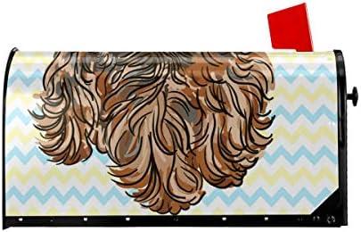 ウェルカムメールボックスカバー子犬ヨークシャーテリア磁気ラップレターボックスポストボックスカバーガーデンヤードの装飾25.5x21 インチ